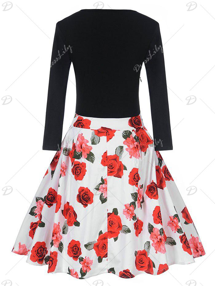 Vintage Floral Print Pin Up Skater Dress - RED M