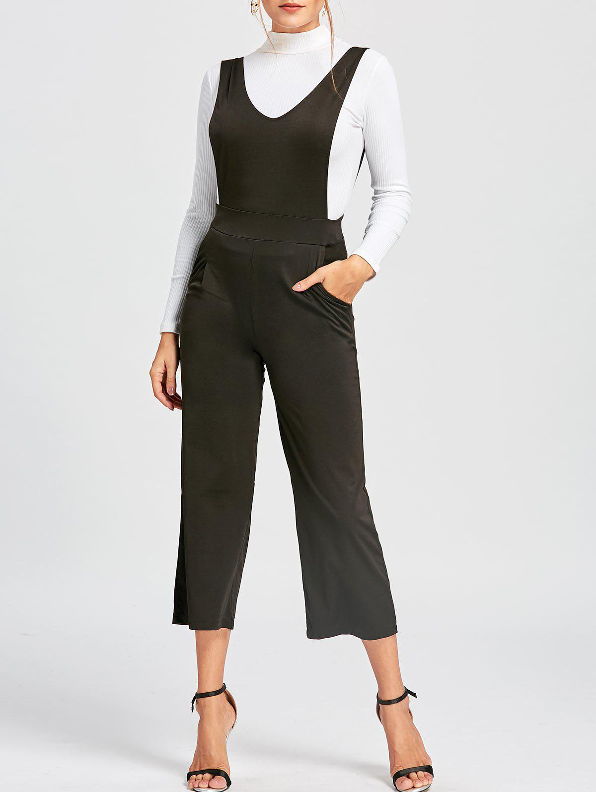 Wide Leg Pinafore Jumpsuit - BLACK XL