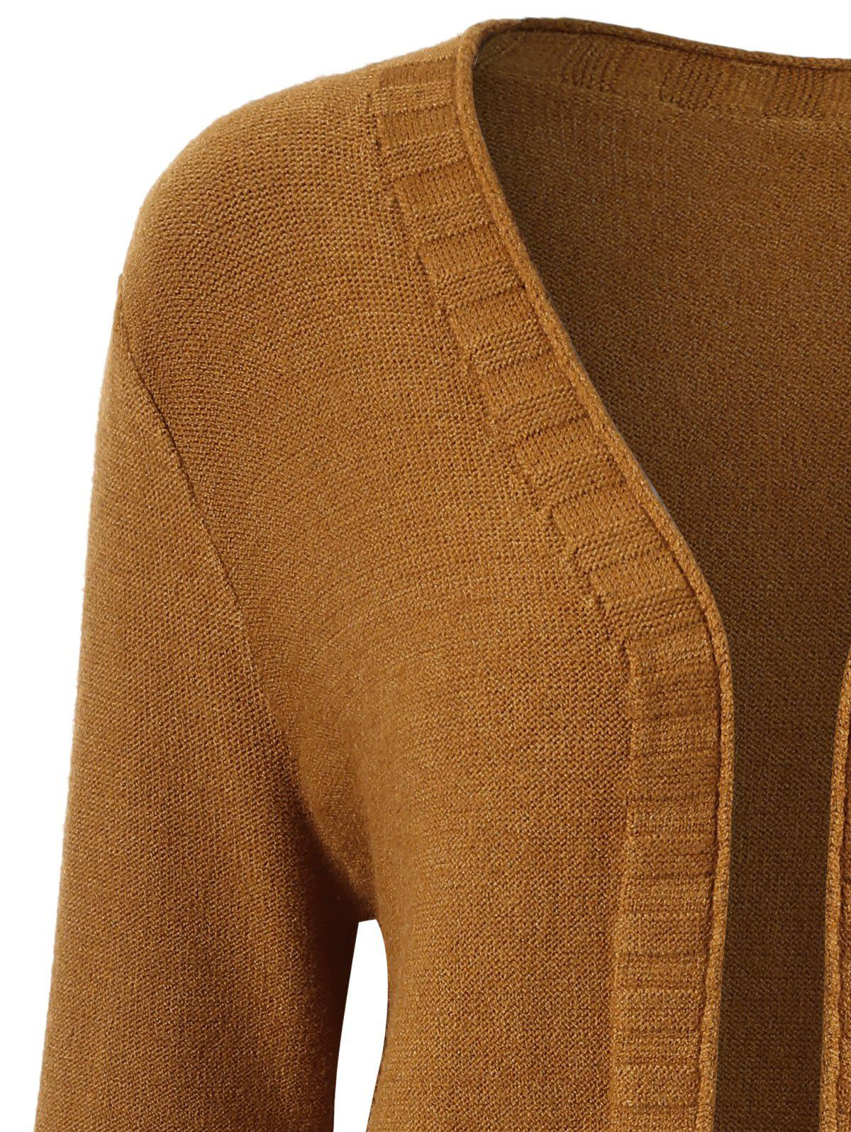 Plus Size Open Front Pocket Cardigan - BROWN 4XL