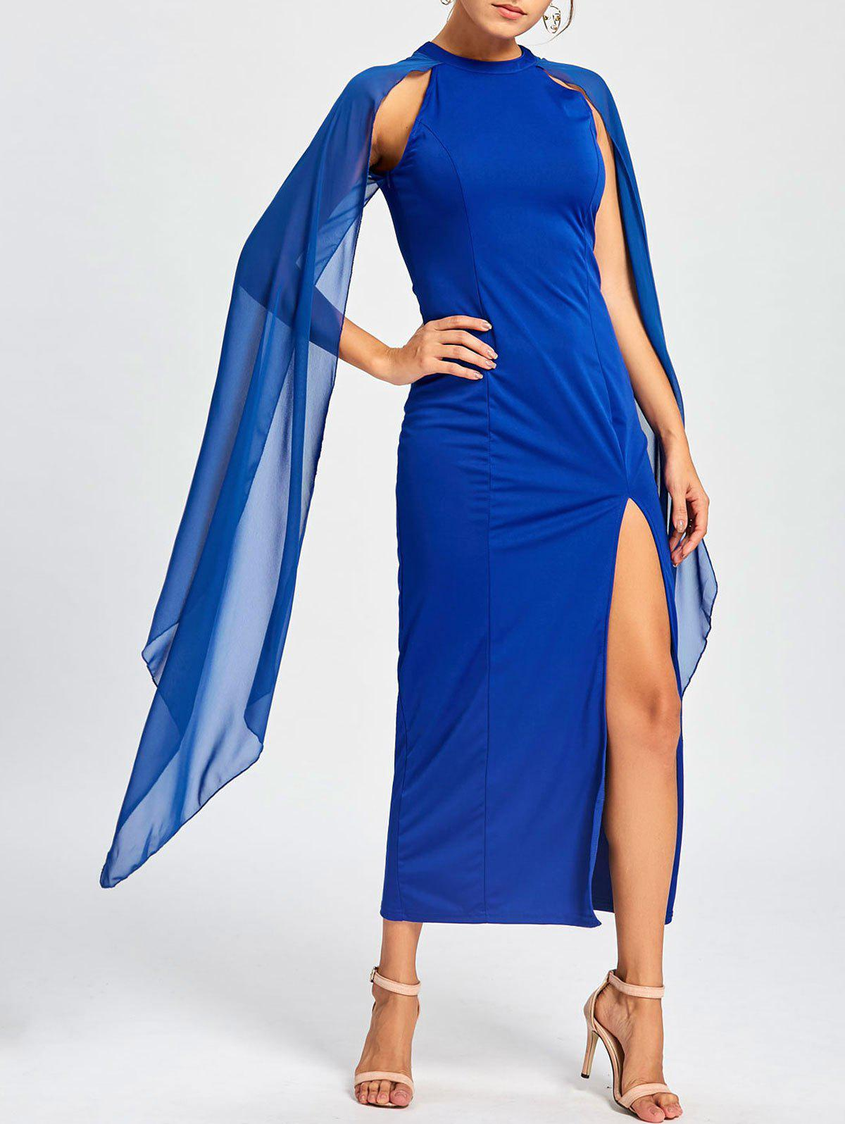 Maxi Chiffon Cape Dress - BLUE 2XL