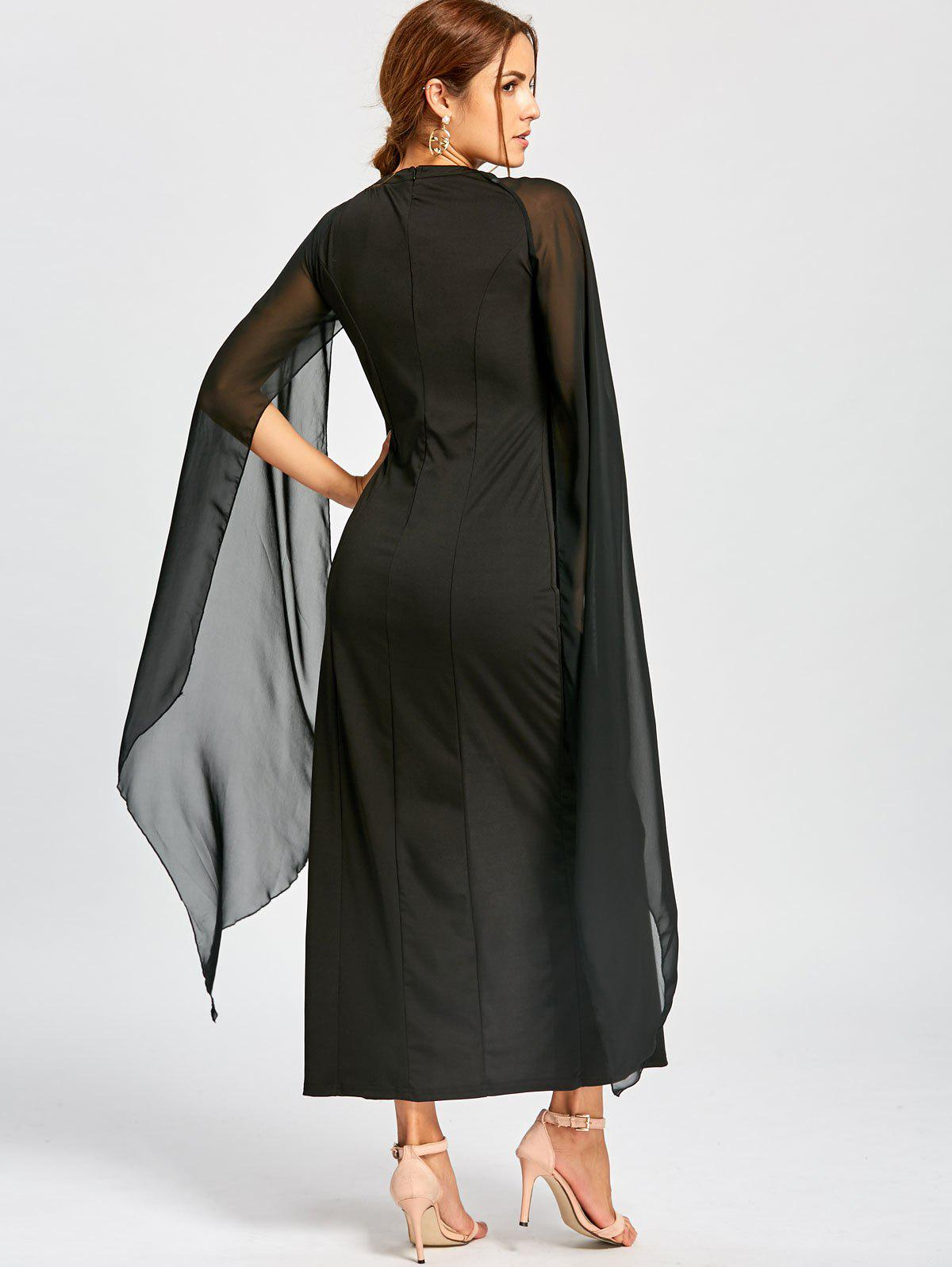 Maxi Chiffon Cape Dress - BLACK M