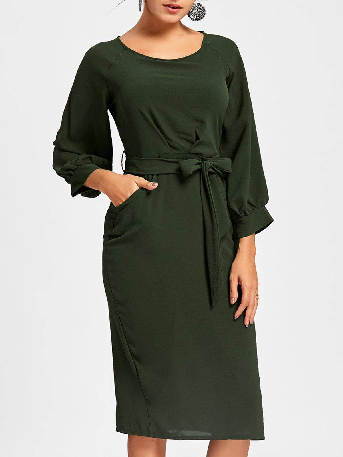 Back Slit Midi Sheath Dress - DEEP GREEN L