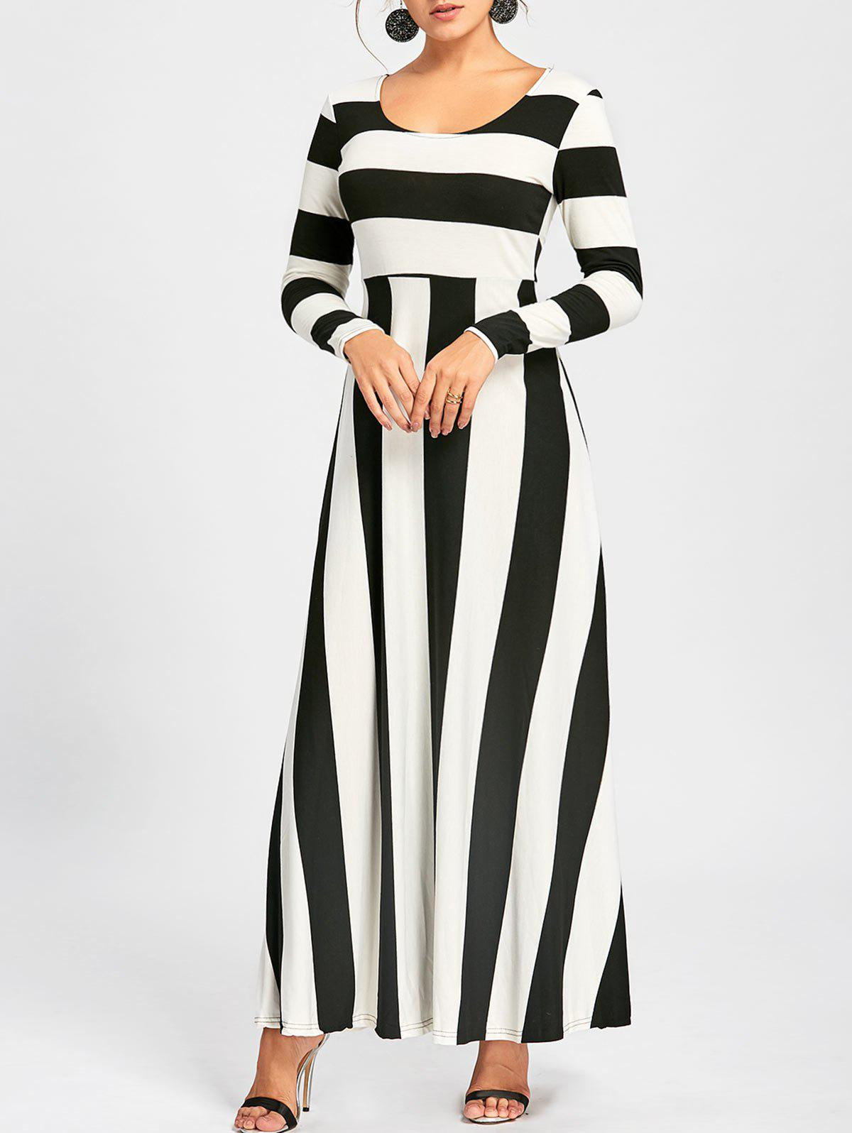 Striped Long Sleeve Maxi Dress - BLACK XL