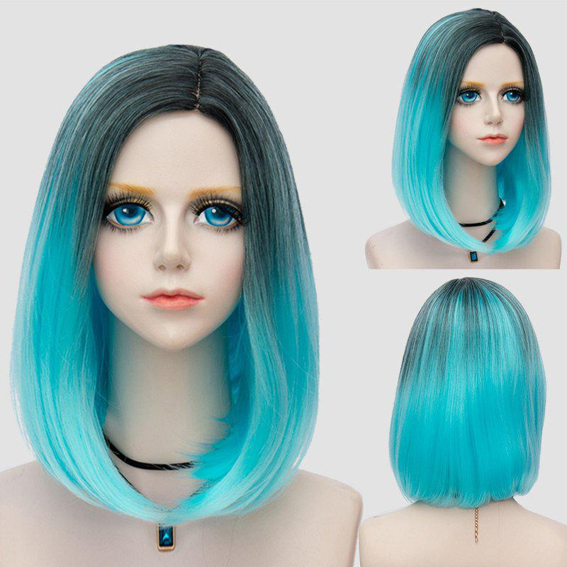 Medium Side Parting Straight Bob Ombre Party Synthetic Wig - WINDSOR BLUE
