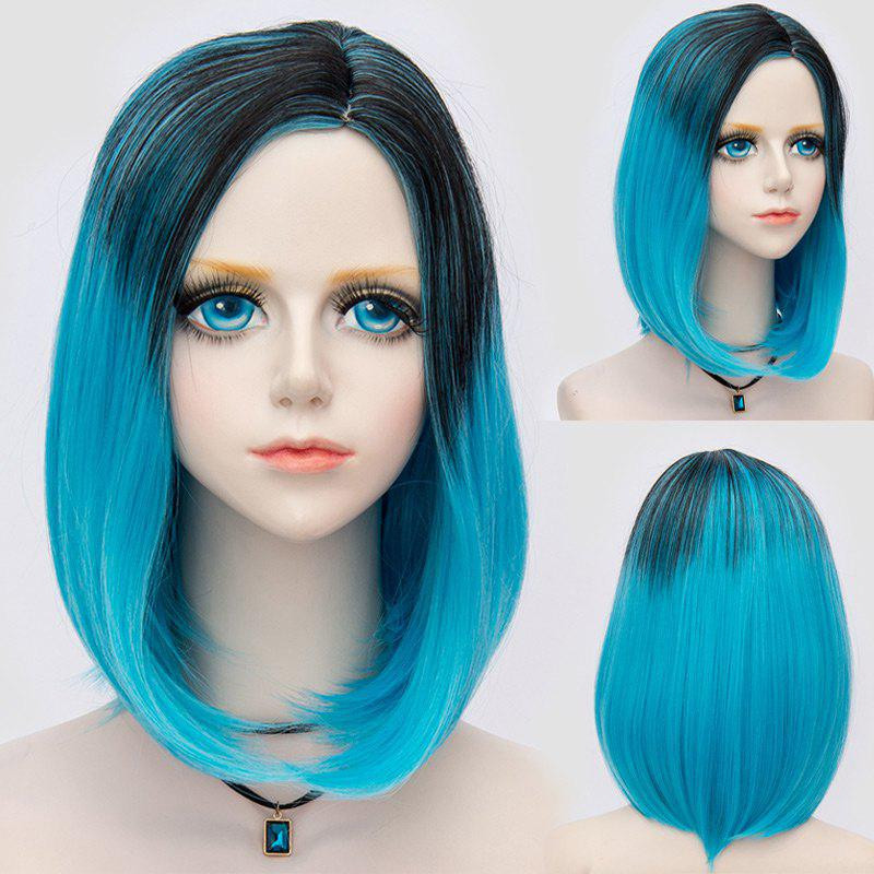 Medium Side Parting Straight Bob Ombre Party Synthetic Wig - BLACK/BLUE
