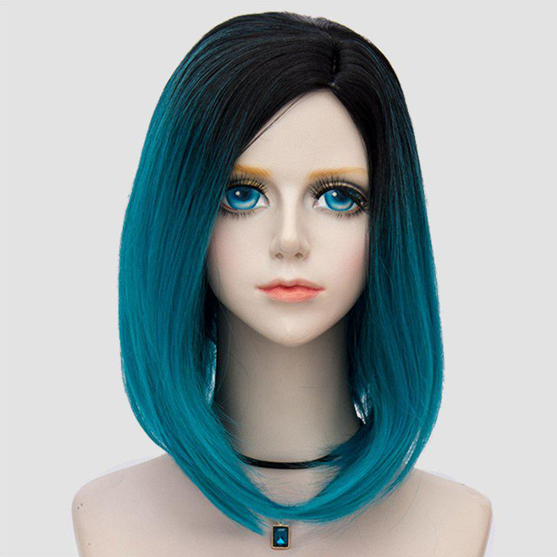 Medium Side Parting Straight Bob Ombre Party Synthetic Wig - BLACK/GREEN