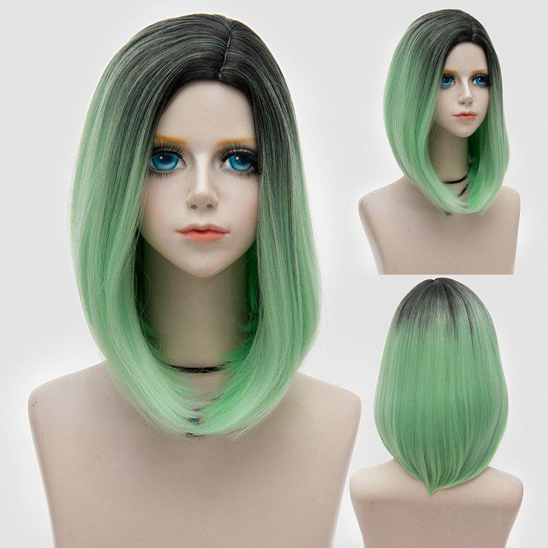 Medium Side Parting Straight Bob Ombre Party Synthetic Wig - GREEN