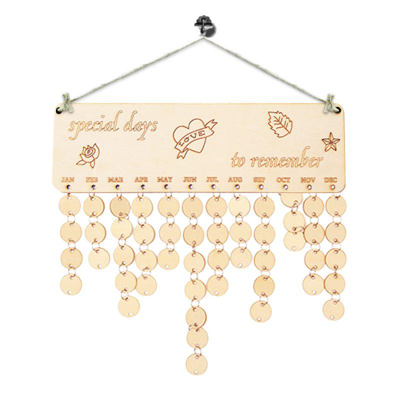 DIY Wooden Special Days Birthday Calendar Board - IVORY YELLOW
