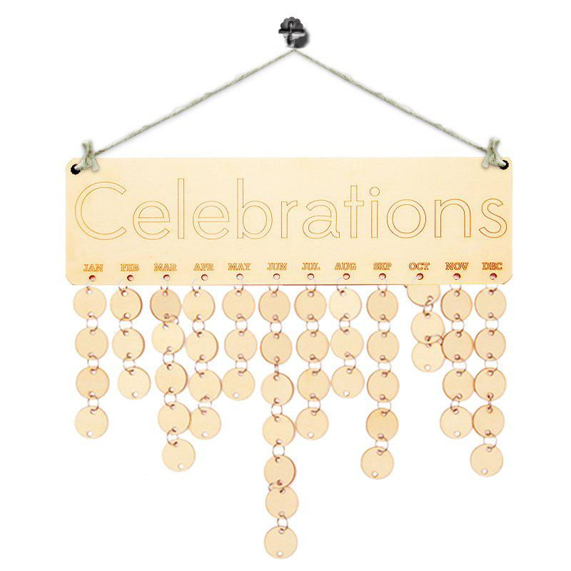 DIY Wooden Celebration Days Birthday Calendar Board - IVORY YELLOW