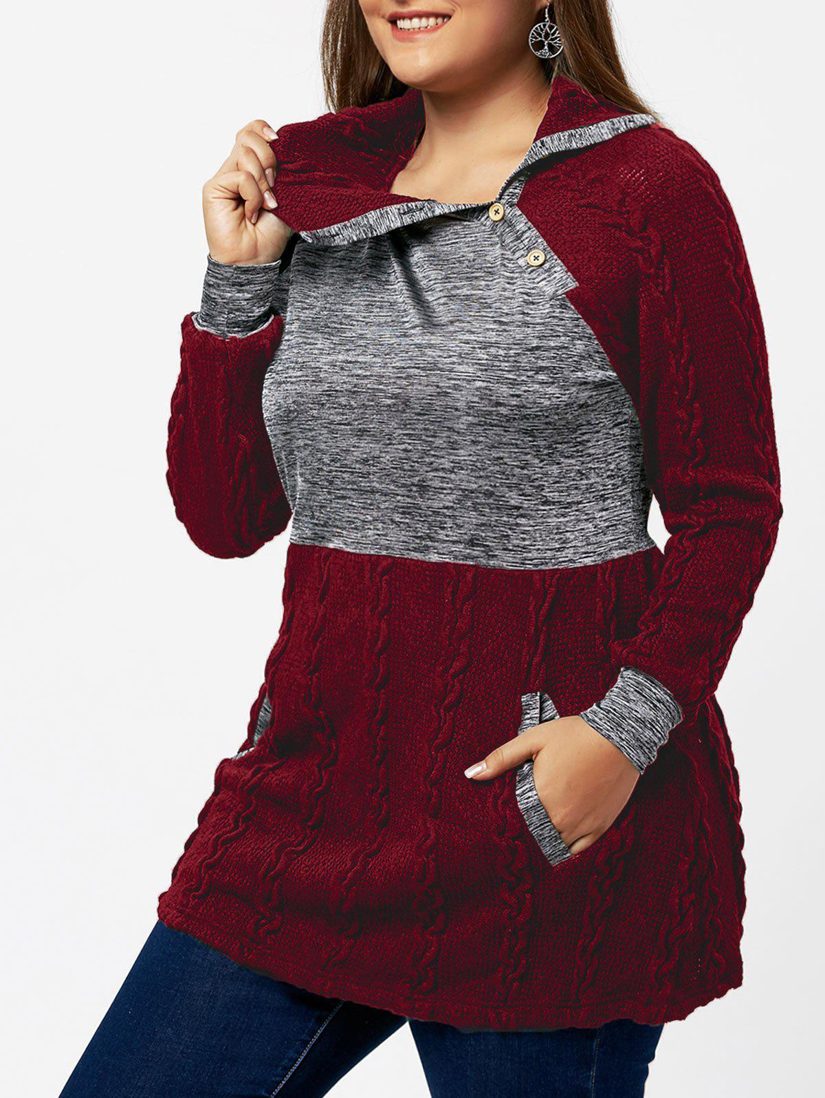 Plus Size Cable Knit Sweater with Pockets inc international concepts plus size bootcut pull on ponte knit pants