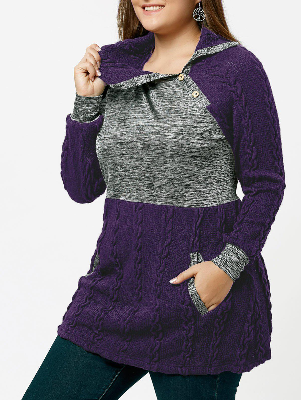 Plus Size Cable Knit Sweater with Pockets - PURPLE XL