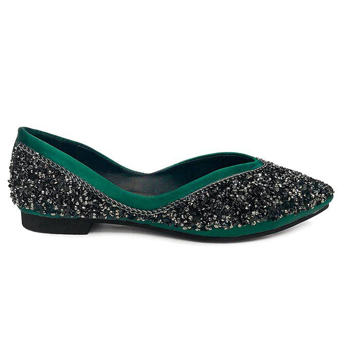 Glitter Slip On Satin Flat Shoes - GREEN 36