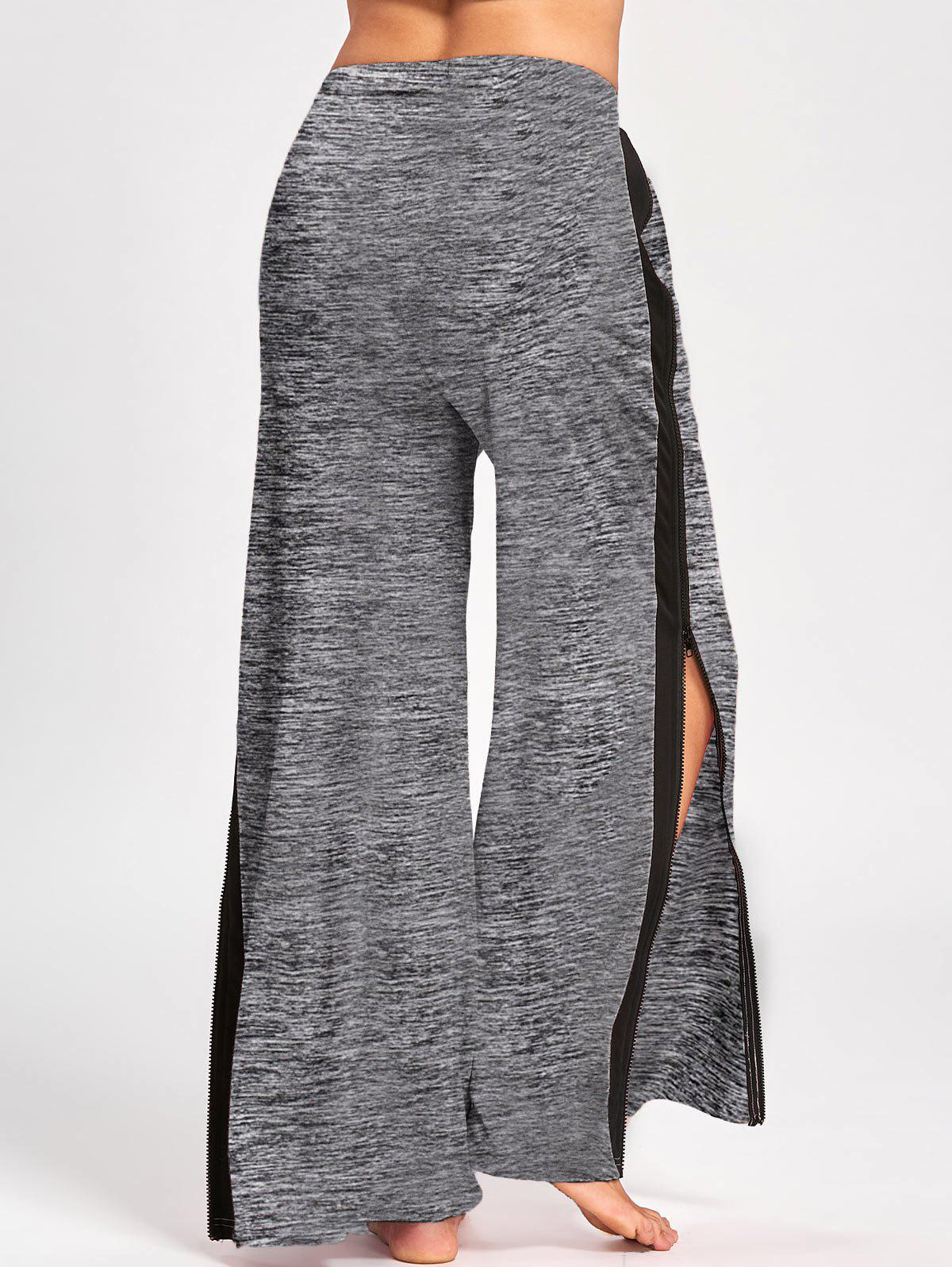 Side Slit Zip Up Wide Leg Pants - GRAY M