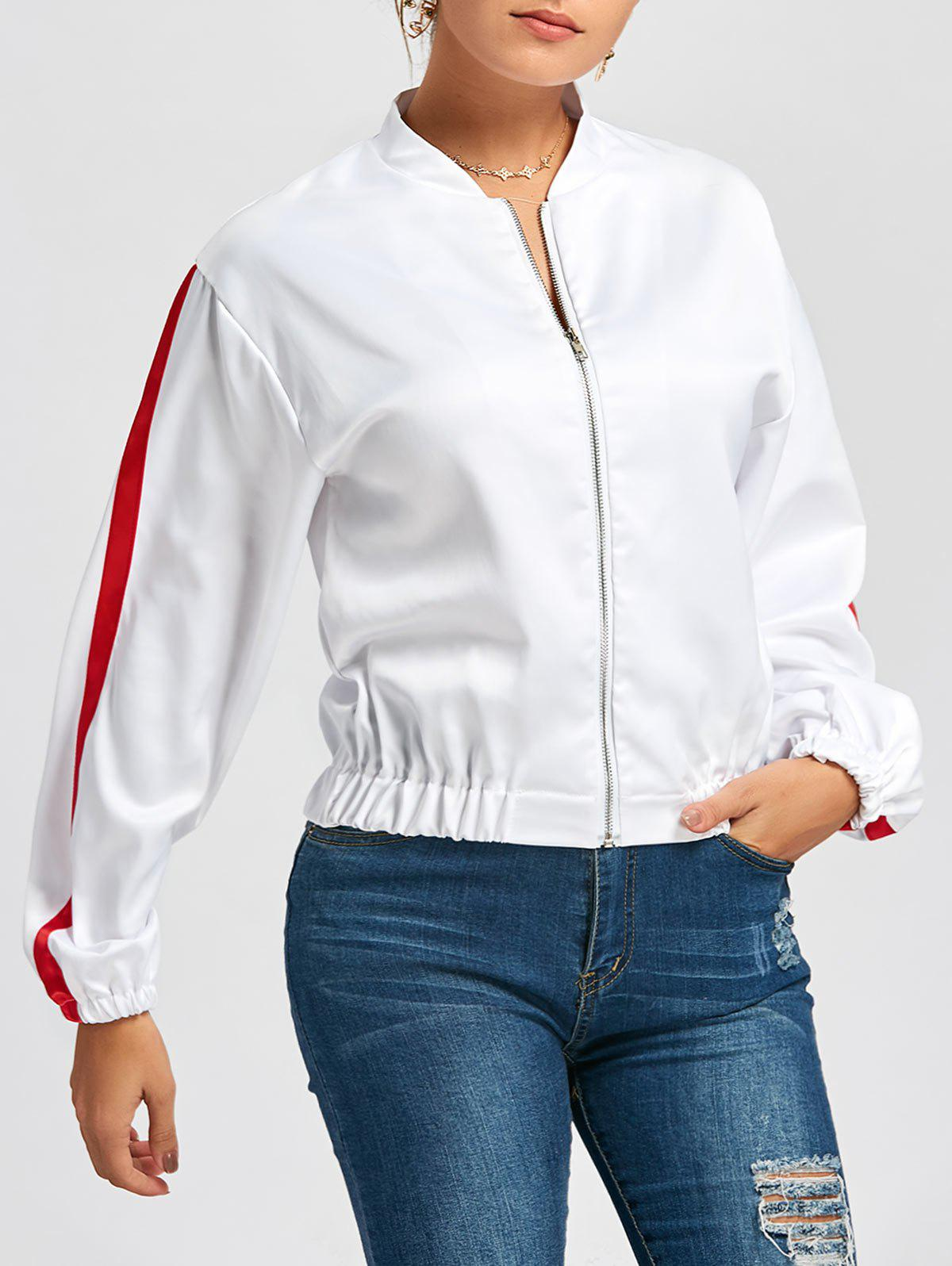 Zipper Fly Striped Bomber Jacket - WHITE L