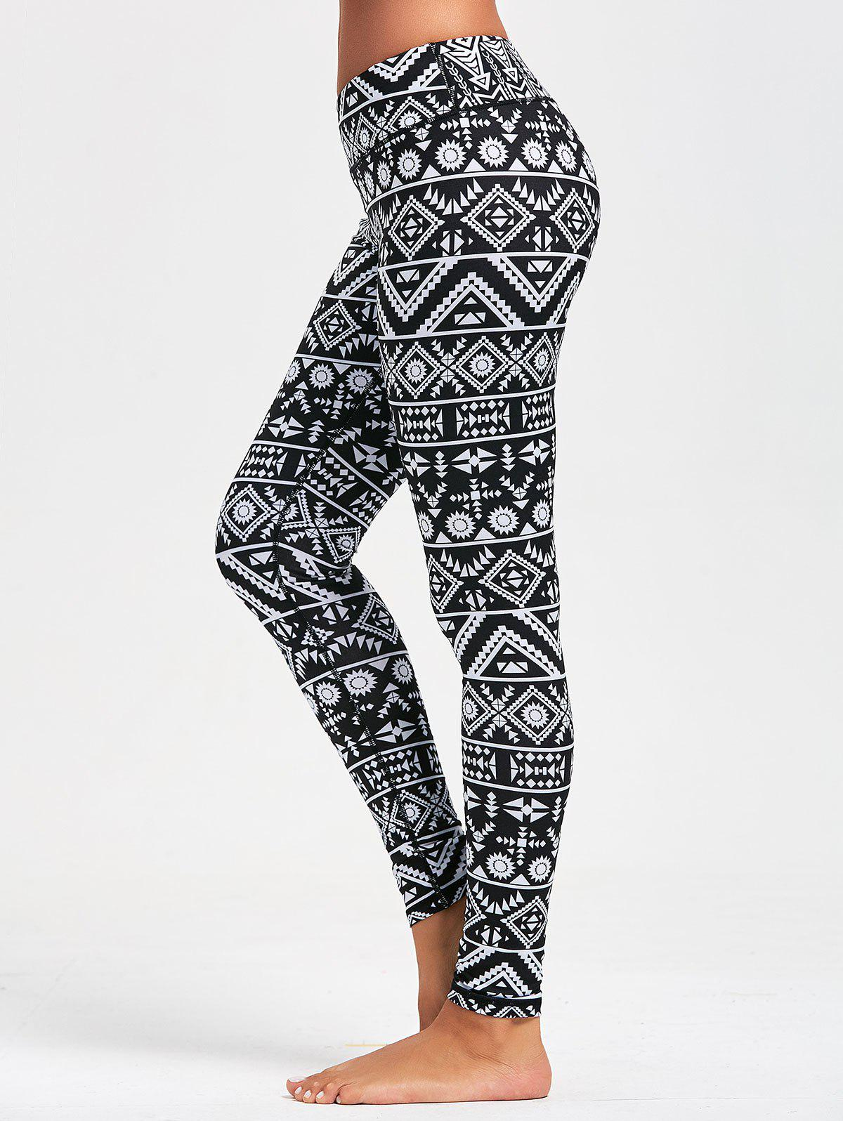 Geometric Pattern Leggings for Running - BLACK XL