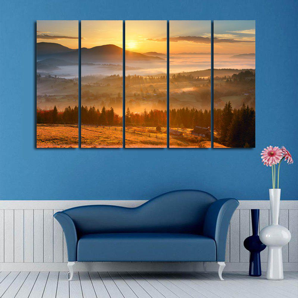 Sunshine Landscape Print Wall Art Split Canvas Paintings burning guitar pattern unframed wall art canvas paintings