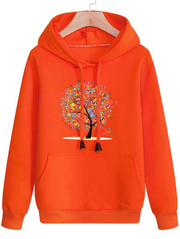Tree Print Kangaroo Pocket Pullover Hoodie - JACINTH 3XL