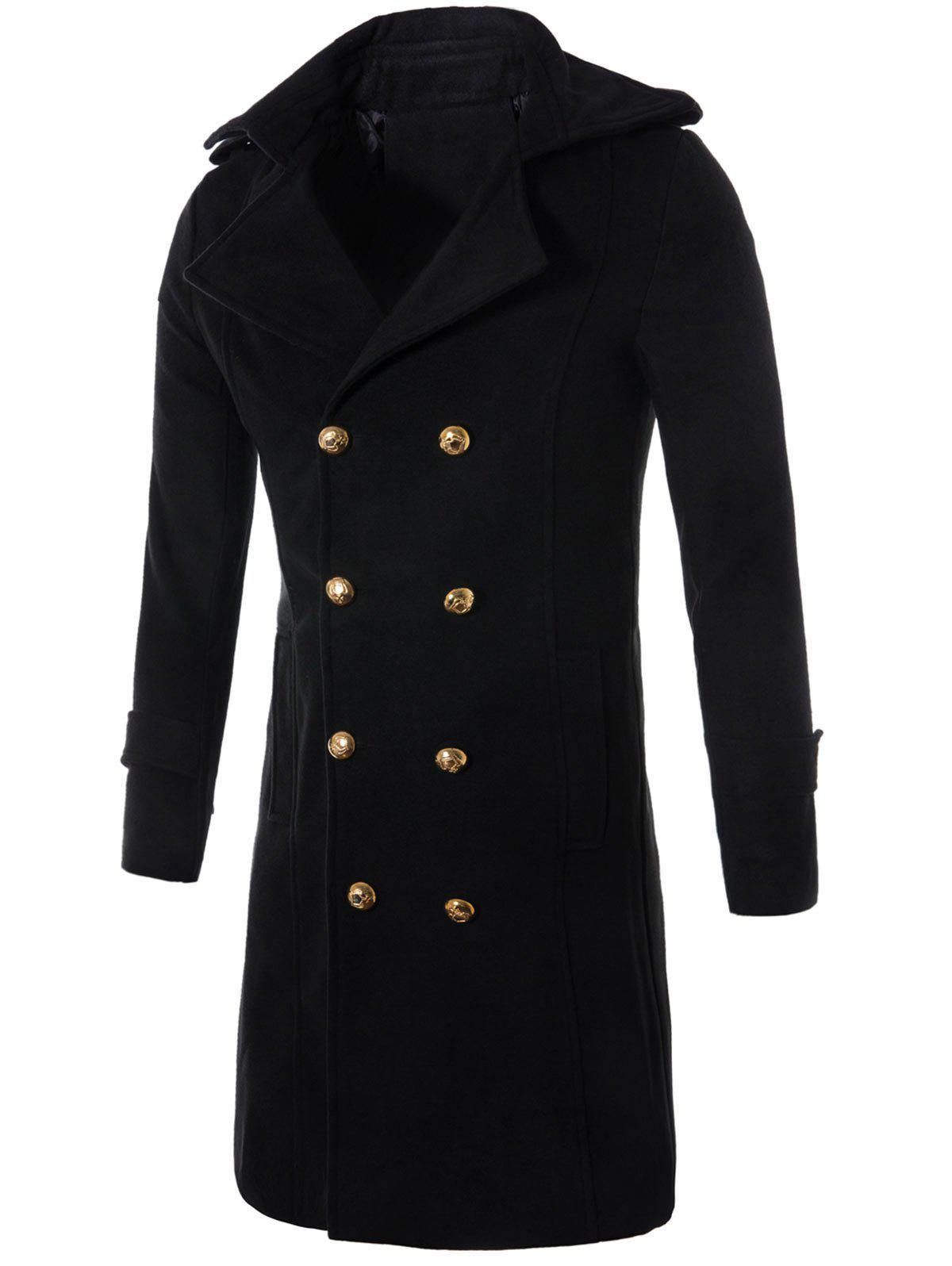 Double Breasted Wool Blend Longline Trench Coat epaulet double breasted wool blend trench coat