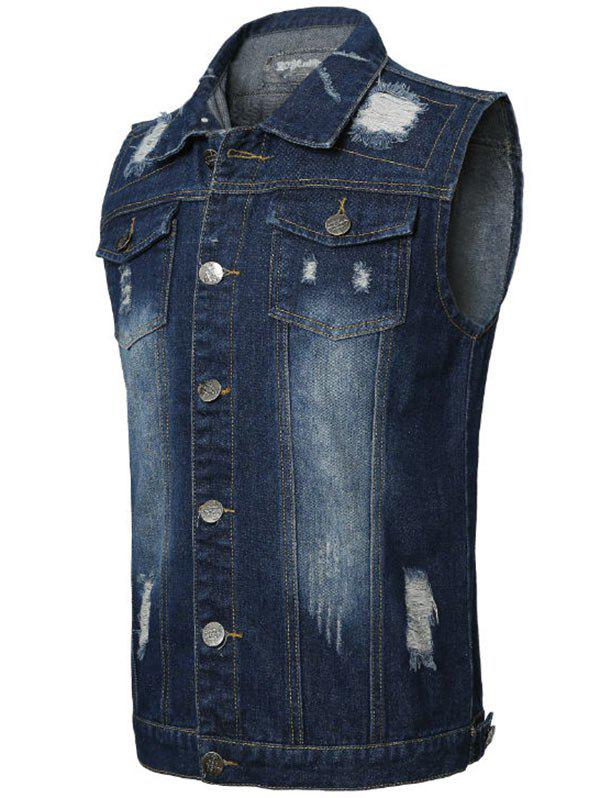 Flap Pocket Distressed Denim Vest - DEEP BLUE 3XL