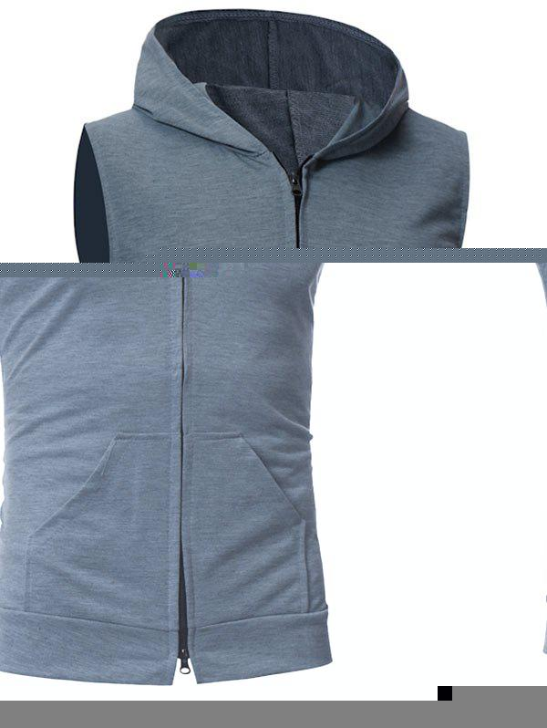Kangaroo Pocket Zipper Up Hooded Vest - DEEP GRAY M
