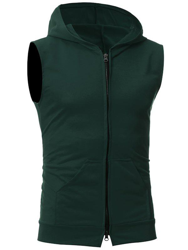 Kangaroo Pocket Zipper Up Hooded Vest - DEEP GREEN XL