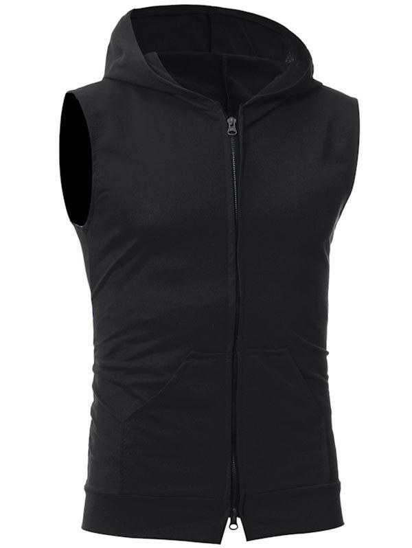 Kangaroo Pocket Zipper Up Hooded Vest - BLACK L