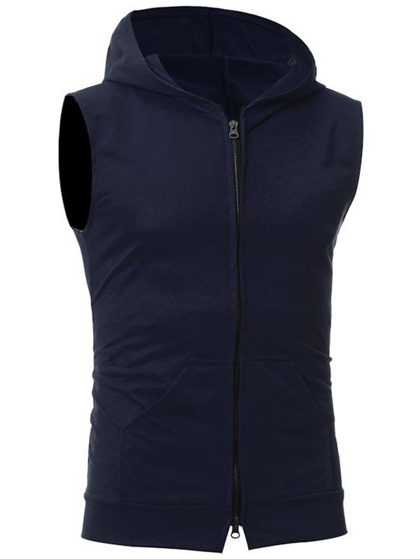 Kangaroo Pocket Zipper Up Hooded Vest - PURPLISH BLUE M