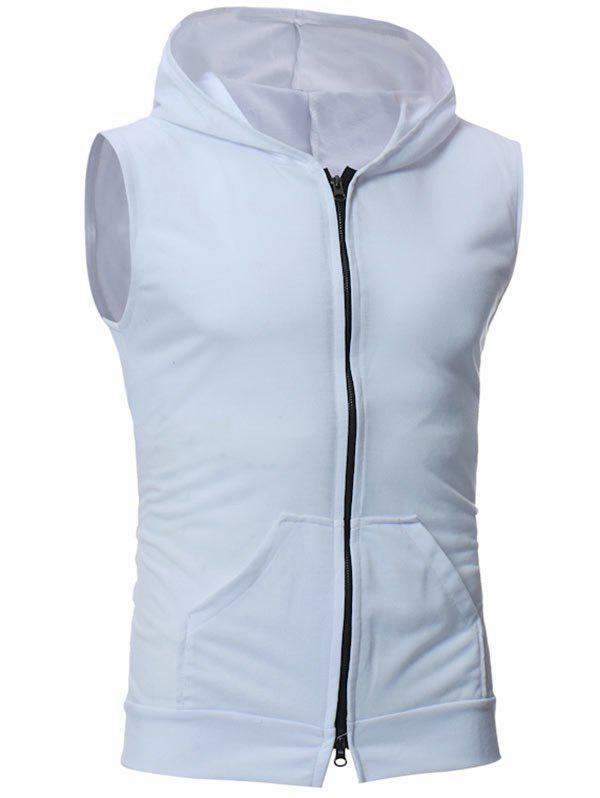 Kangaroo Pocket Zipper Up Hooded Vest - WHITE L