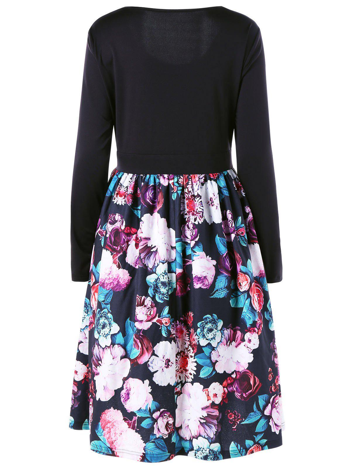 Plus Size Long Sleeve Floral Print Skater Dress - BLACK 5XL