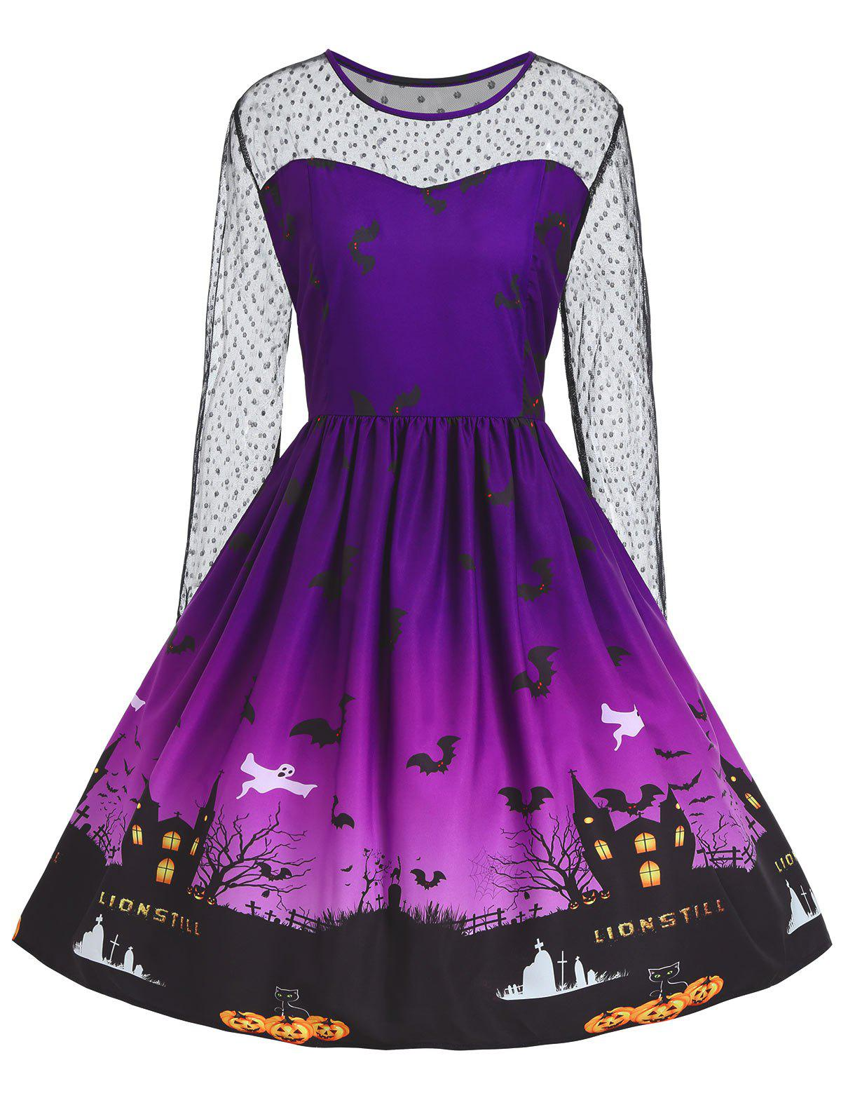 Plus Size Lace Panel Halloween Pumpkin Castle Print Dress - PURPLE 5XL