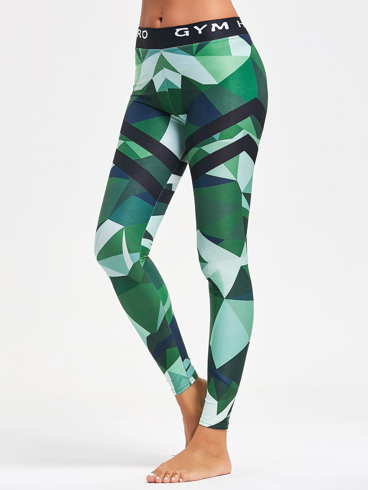 Triangle Pattern Yoga Leggings - GREEN M