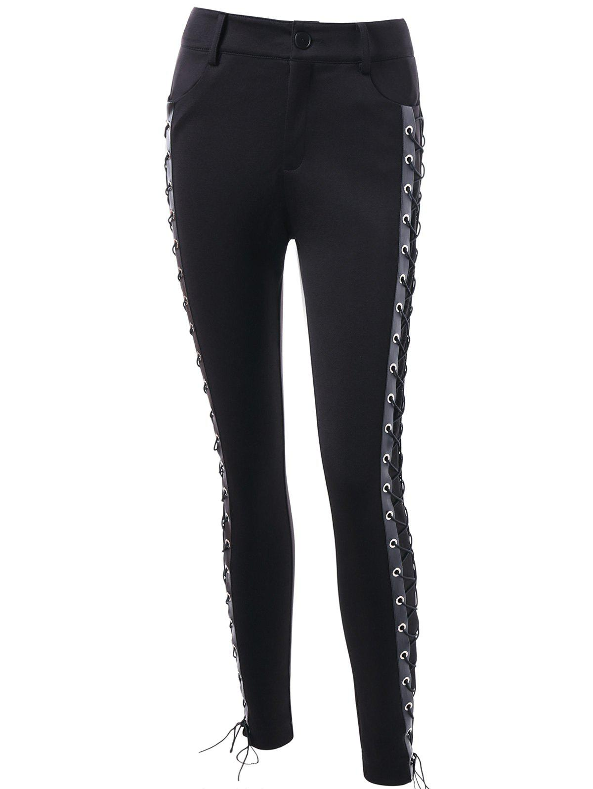 High Waist Skinny Lace Up Pants - BLACK M