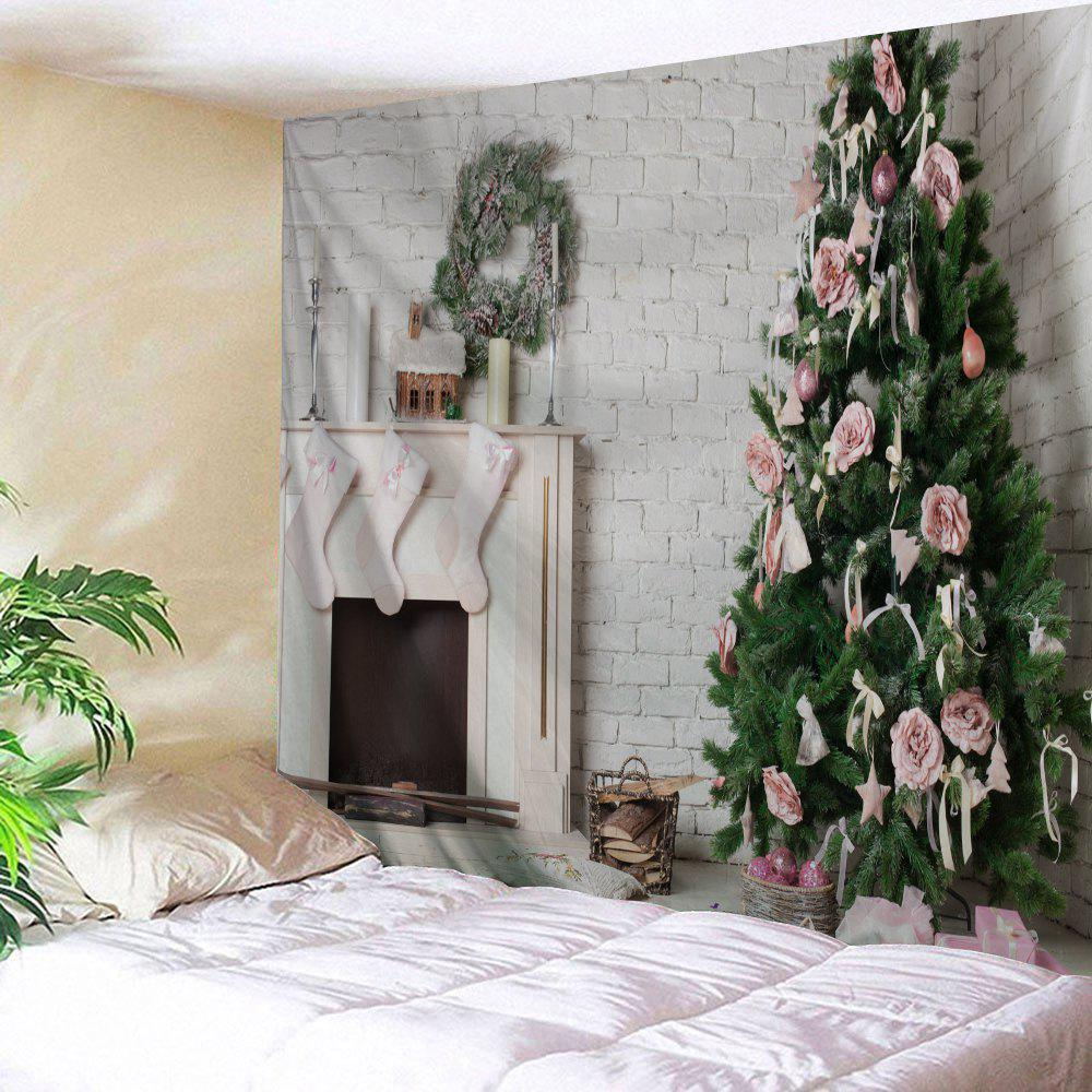 Wall Hanging Christmas Fireplace Tree Tapestry christmas tree photography background christmas lights fireplace wall decors backdrop xt 4525