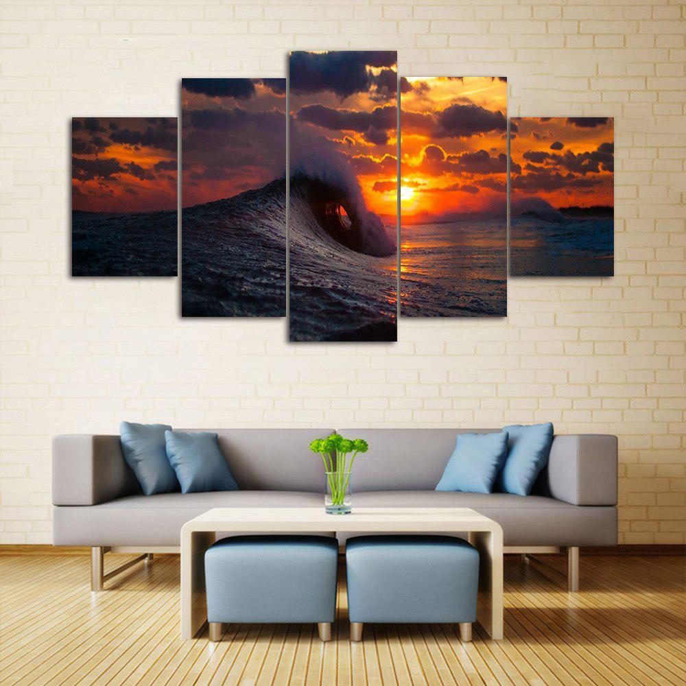 Ocean Wave Sunset Print Unframed Canvas Paintings seaside sunset sandbeach printed split unframed canvas paintings