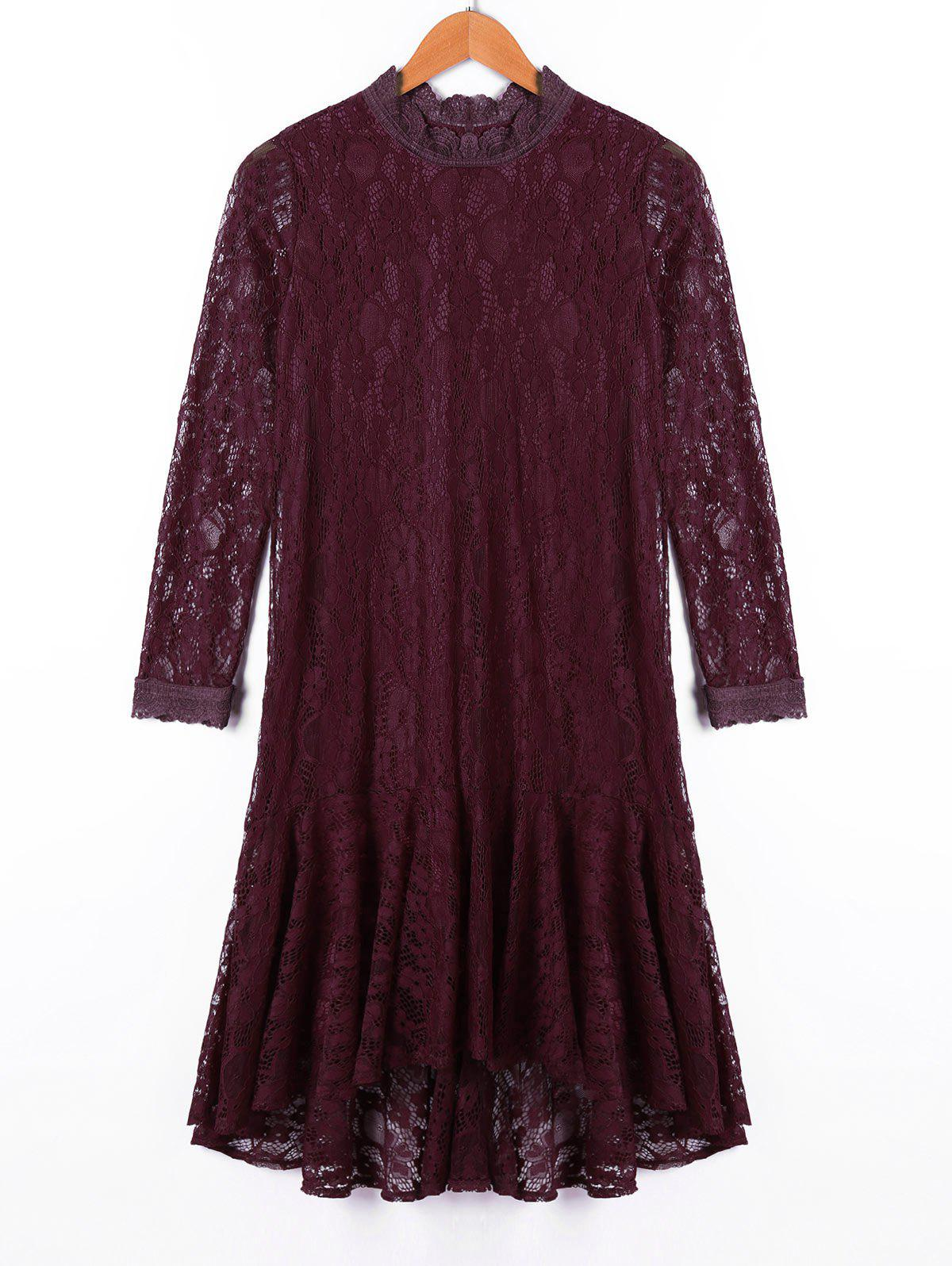Crew Neck Long Sleeve Lace Dress - DARK RED M