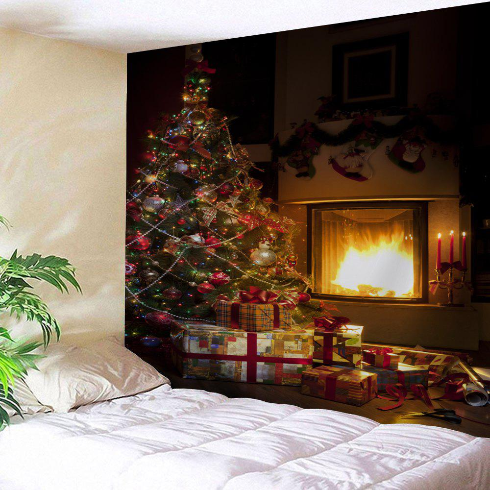 Christmas Tree Fireplace Printed Wall Tapestry christmas tree snowman printed wall tapestry
