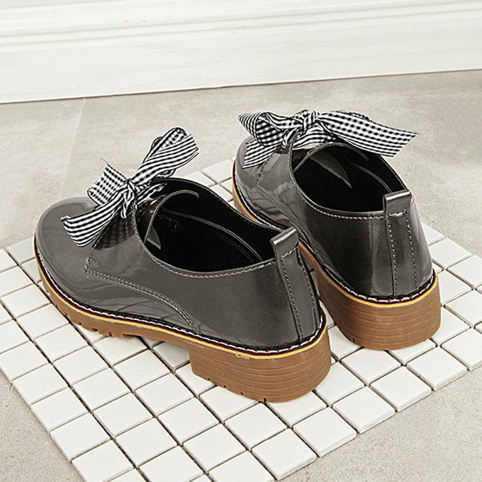 Bowknot PU Leather Flat Shoes - TAUPE 38