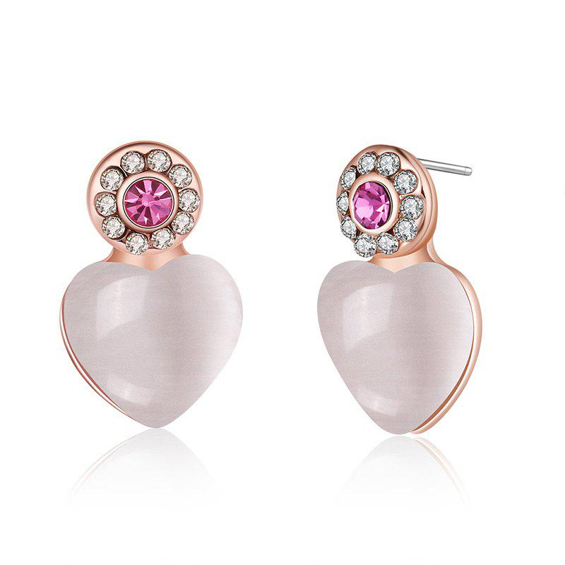 Rhinestoned Faux Opal Heart Stud Earrings - PINK