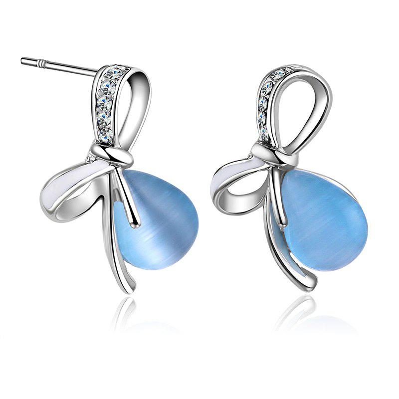 Faux Gemstone Bows Teardrop Stud Earrings - Bleu