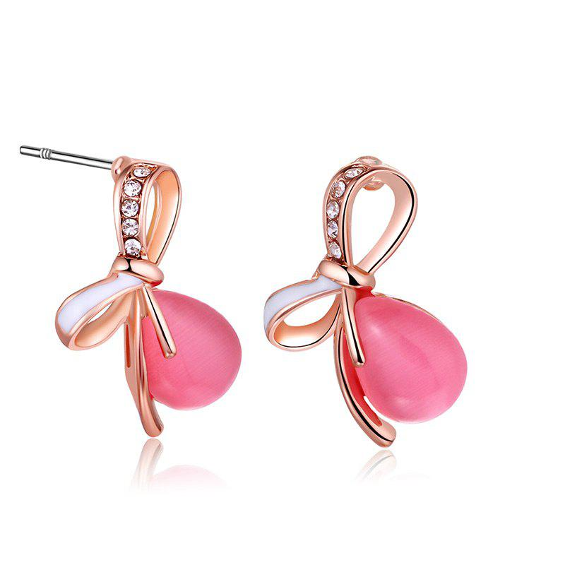 Faux Gemstone Bows Teardrop Stud Earrings - ROSE PÂLE