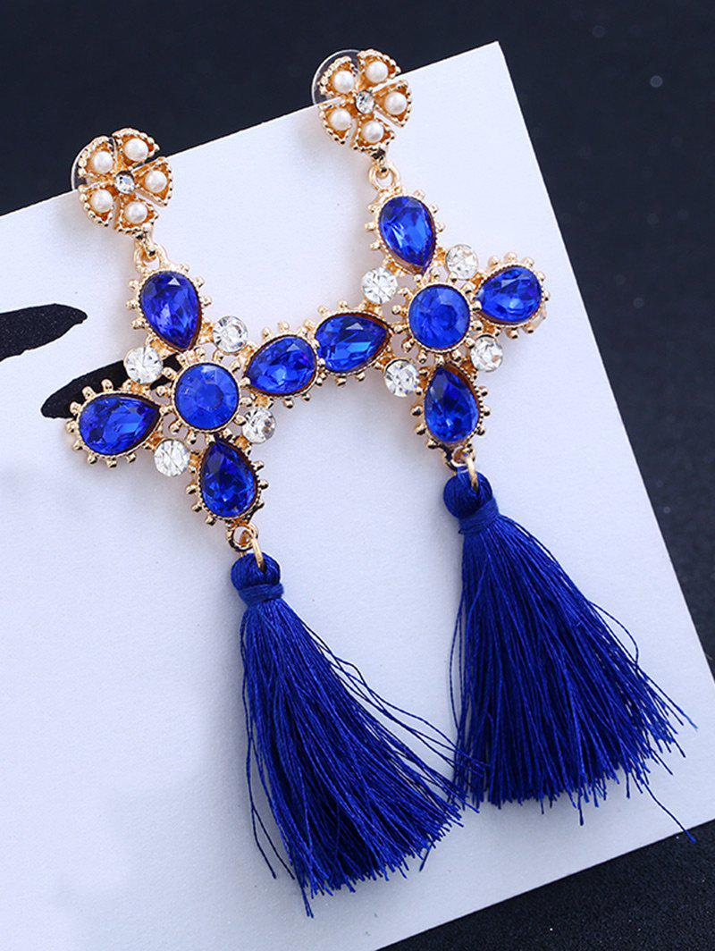 Rhinestone Floral Cross Tassel Earrings - BLUE