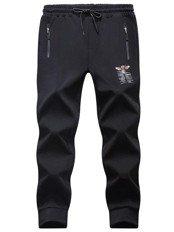 Tiger Bee Print Drawstring Jogger Pants - BLACK 2XL