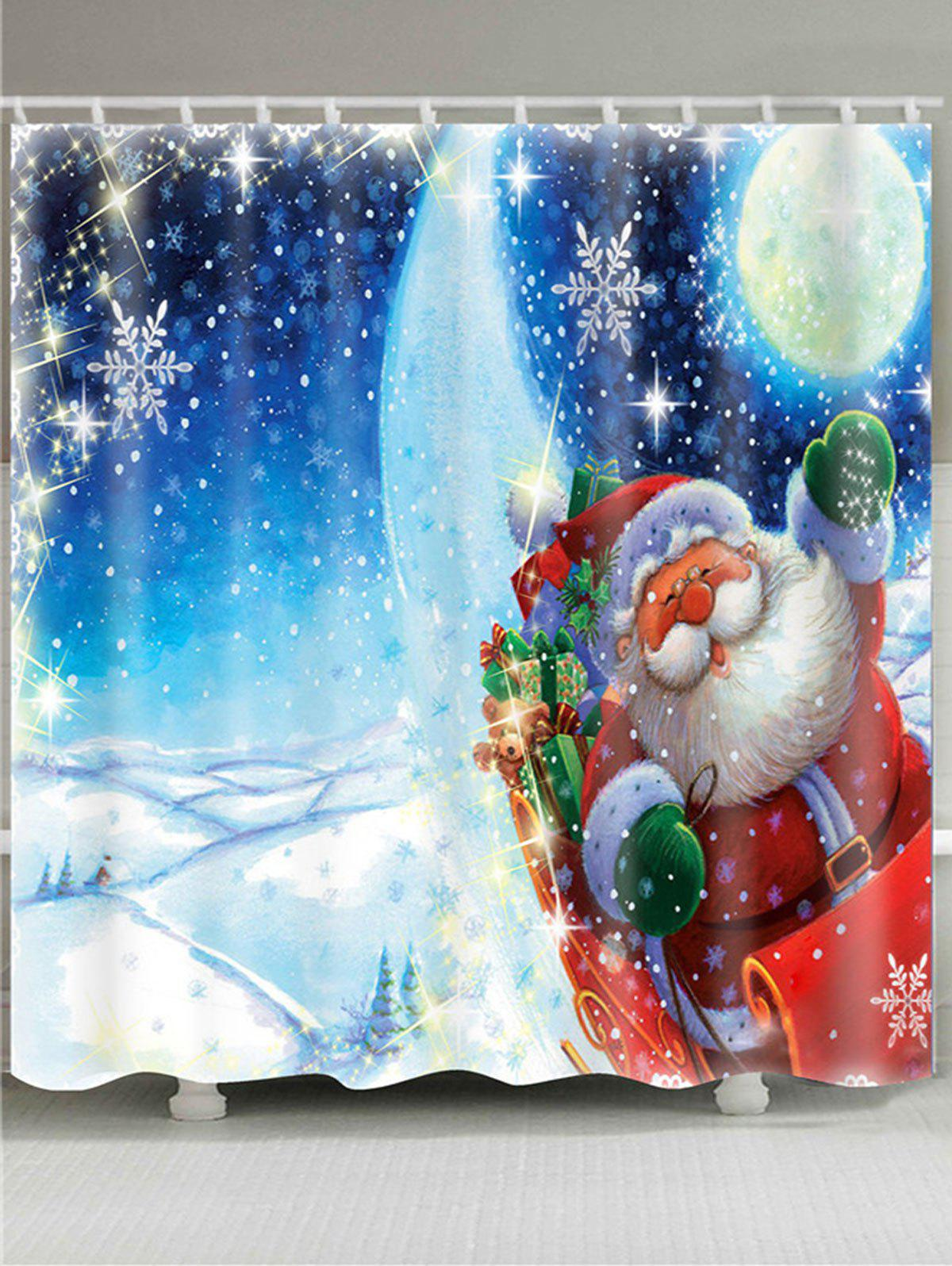 Waterproof Father Christmas Lighting Pattern Shower Curtain christmas ball candle waterproof shower curtain