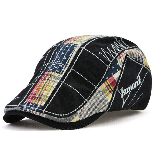 Outdoor Tartan Embroidery Cabbie Hat - BLACK
