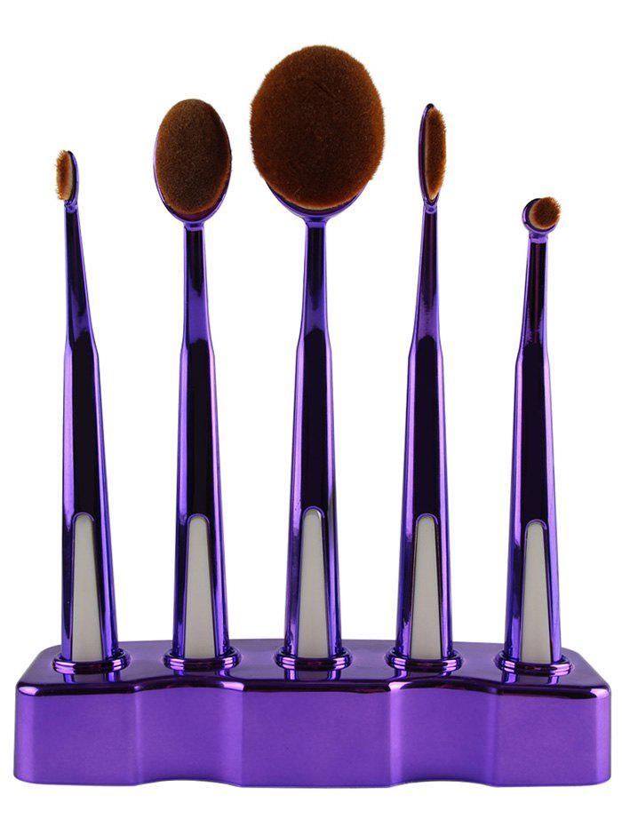 5 Pcs Toothbrush Shape Make-up Brush with Brush Holder - PURPLE
