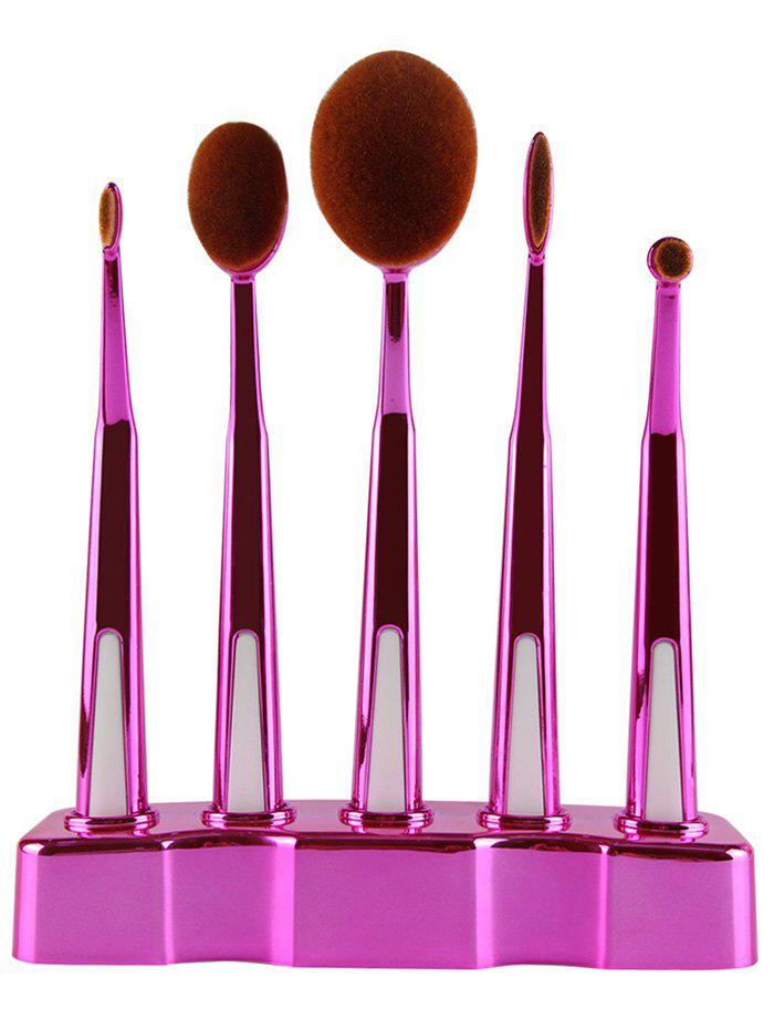 5 Pcs Toothbrush Shape Make-up Brush with Brush Holder - TUTTI FRUTTI