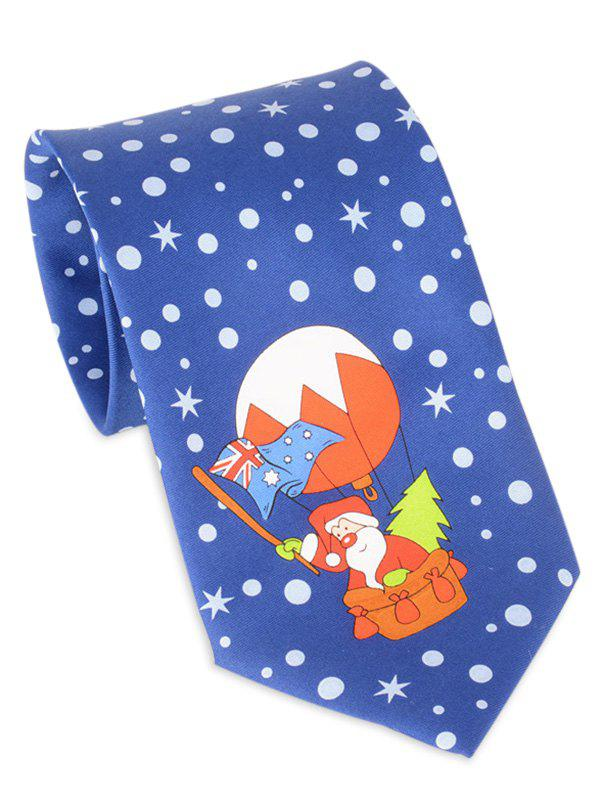 Santa Claus Flying by Balloon Printed Tie - BLUE