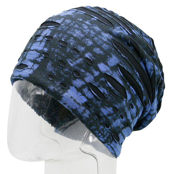 Ink Printed Double-Deck Ripped Beanie - BLUE