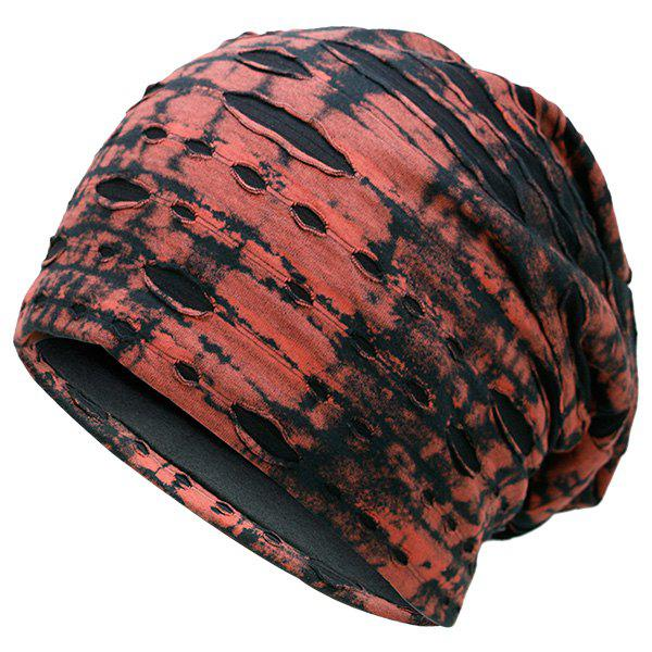 Ink Printed Double-Deck Ripped Beanie - RED