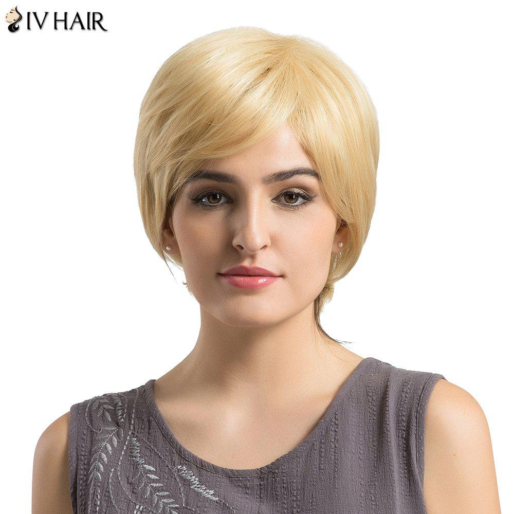 Siv Hair Short Side Bang Fluffy Layered Slightly Curly Human Hair Wig - BLONDE